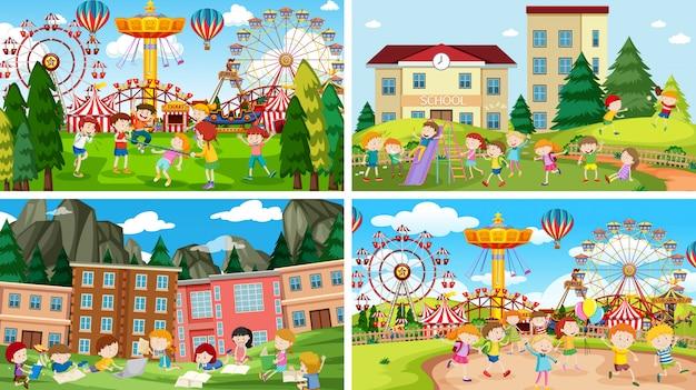 Conjunto de escenas en la feria. vector gratuito