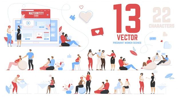 Conjunto de escenas de mujeres embarazadas en clases de maternidad Vector Premium