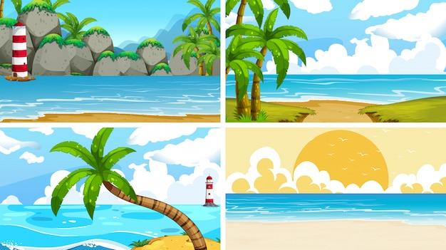 Conjunto de escenas de la naturaleza del océano tropical con playas vector gratuito