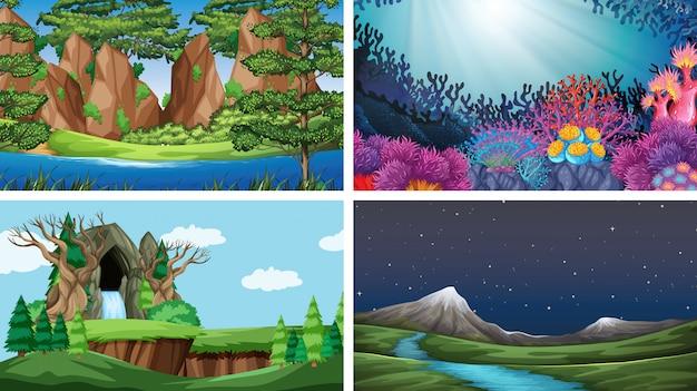 Conjunto de escenas en la naturaleza. vector gratuito