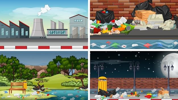 Conjunto de escenas o fondo contaminados vector gratuito