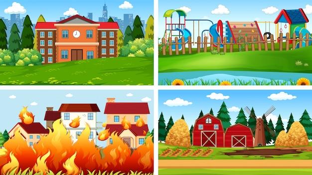 Conjunto de escenas o fondo en entorno natural. vector gratuito