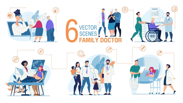 Conjunto de escenas planas de moda del trabajo del médico de familia Vector Premium