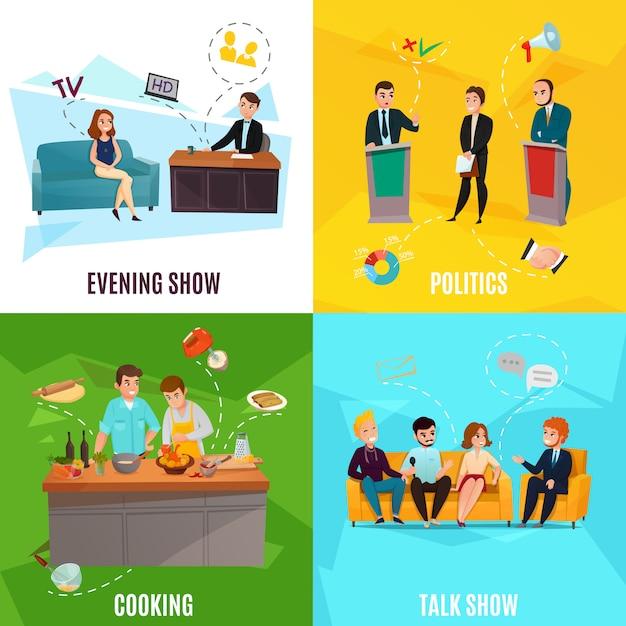 Conjunto de escenas de talk show vector gratuito