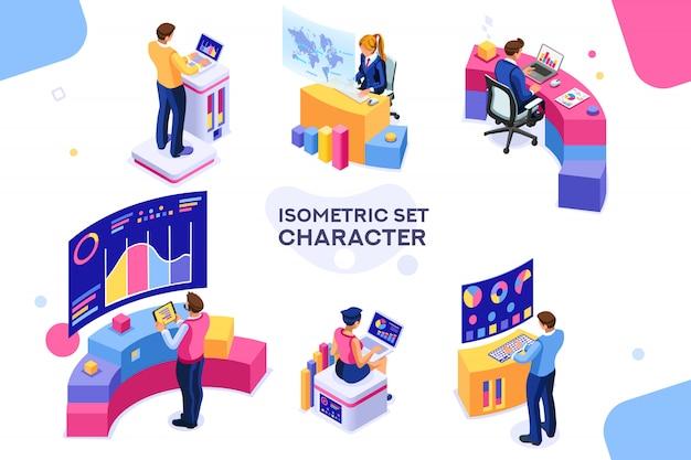 Conjunto de escritorio isométrico Vector Premium