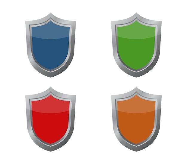 Conjunto de escudos Vector Premium