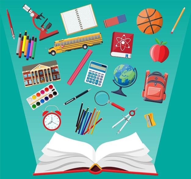 Conjunto de escuela grande. diferentes útiles escolares, papelería. nota globo pintura lápiz bolígrafo calculadora mochila reloj libro bola manzana edificio escolar regla átomo. Vector Premium
