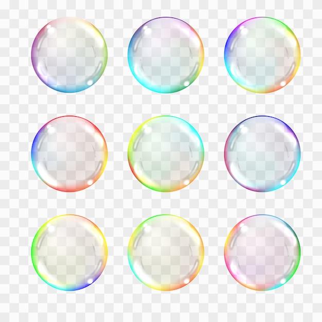 Conjunto de esferas de cristal transparente multicolor. Vector Premium