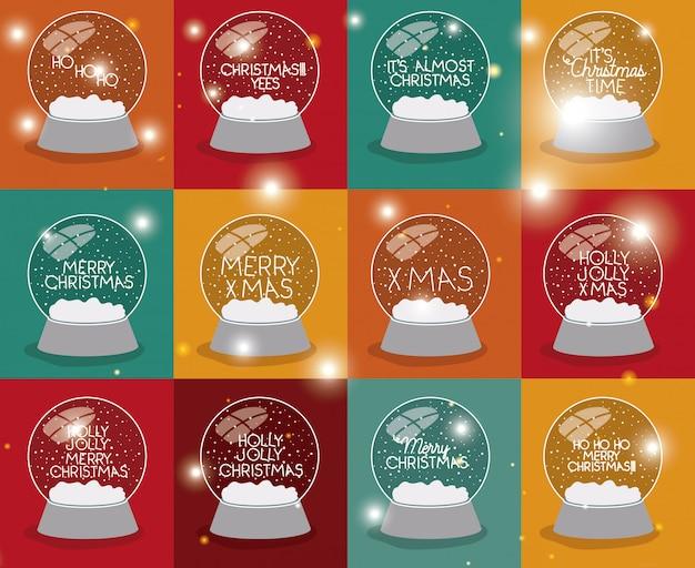Conjunto de esferas de nieve con letras de navidad Vector Premium