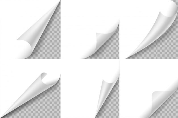 Conjunto de esquinas rizadas. la página de papel riza la esquina, da vuelta la hoja doblada. etiqueta engomada del ángulo rizado, bloc de notas borde doblado. diseño realista Vector Premium