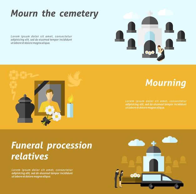 Conjunto de estandarte funerario vector gratuito