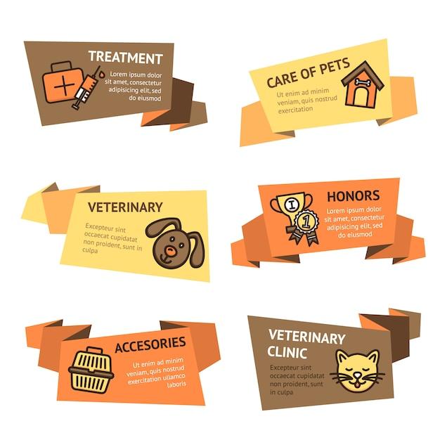 Conjunto de estandartes veterinarios. vector gratuito