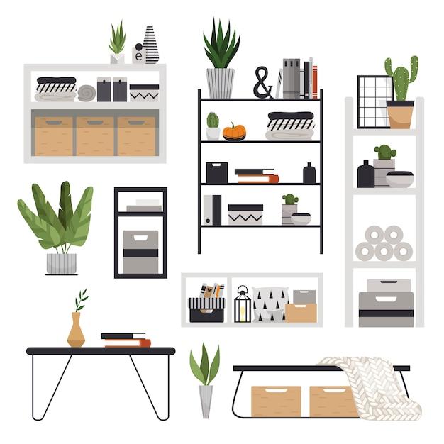 Un conjunto de estantes, estantes, mesas y mesitas de noche elegantes y modernos en estilo escandinavo. mobiliario minimalista para un interior acogedor. Vector Premium