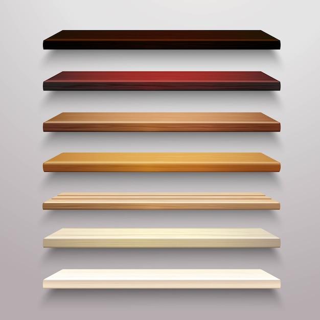 Conjunto de estantes de madera vector gratuito