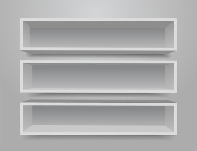 Conjunto de estantes de muebles diferentes blancos. Vector Premium