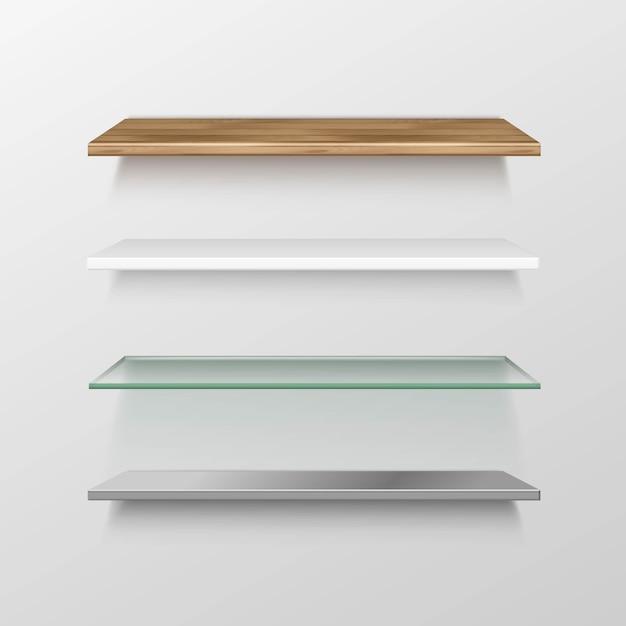 Conjunto de estantes vacíos de madera, vidrio, metal, plástico, estante Vector Premium