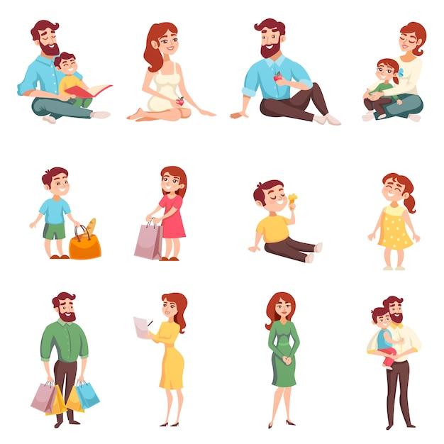 Conjunto de estilo de dibujos animados de miembros de la familia vector gratuito