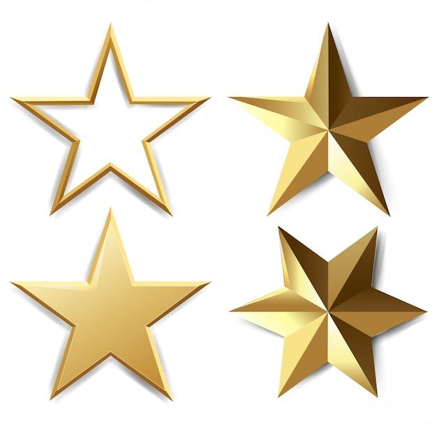 Conjunto de estrellas doradas Vector Premium