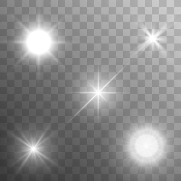 Conjunto de estrellas en un fondo blanco y gris transparente en un tablero de ajedrez. Vector Premium