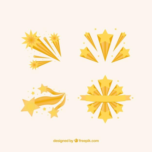 Conjunto de estrellas fugaz amarillas vector gratuito