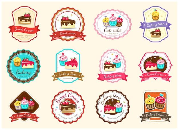 Conjunto de etiqueta y logotipo de placa de panadería dulce Vector Premium