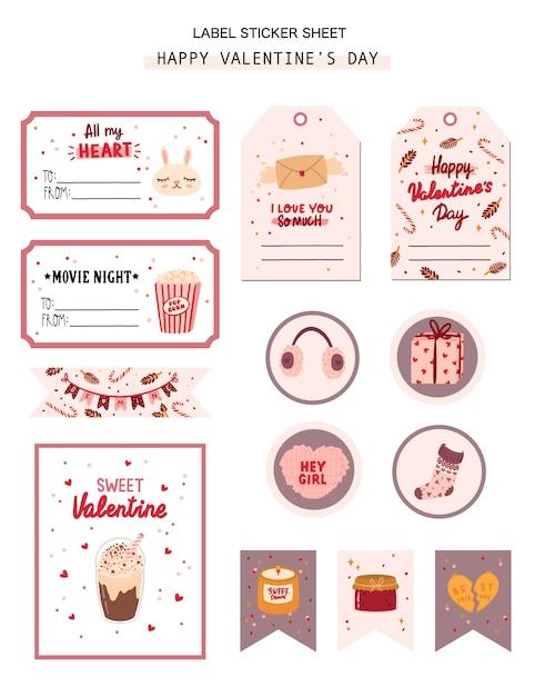 Conjunto de etiqueta de regalo de san valentín, etiqueta, pegatinas con elementos románticos y de belleza. Vector Premium
