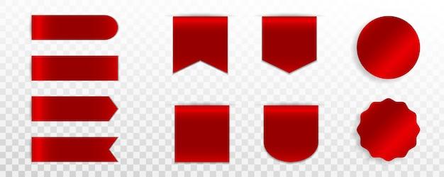 Conjunto de etiqueta roja premium, insignia o etiqueta Vector Premium