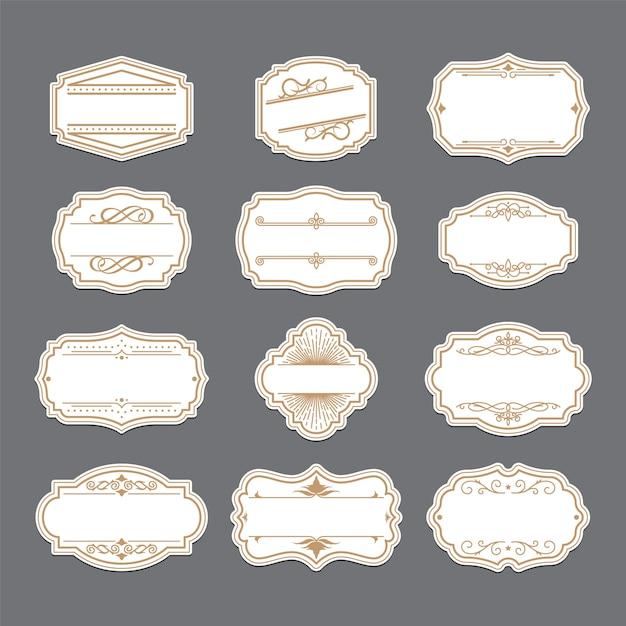 Conjunto de etiquetas adornadas de oro vintage vector gratuito