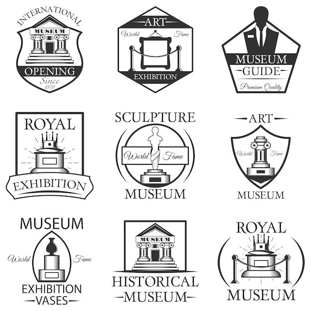 Conjunto de etiquetas aisladas de museo, logotipo y emblemas. símbolos de museo en blanco y negro y elementos de diseño. arte, estatua, edificio del museo, entrada. Vector Premium