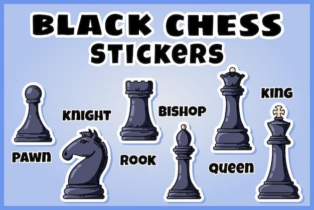 Conjunto de etiquetas de ajedrez. Vector Premium