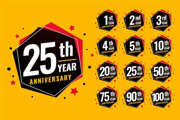 Conjunto de etiquetas de aniversario festivo de evento. vector gratuito