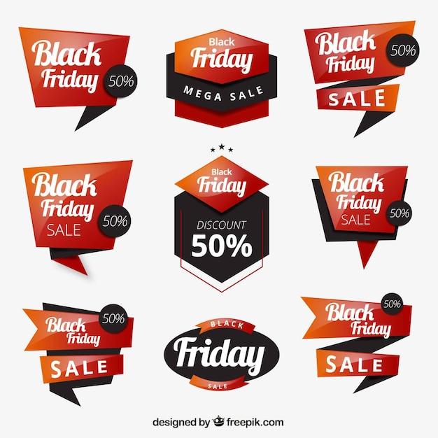 Conjunto de etiquetas de black friday vector gratuito
