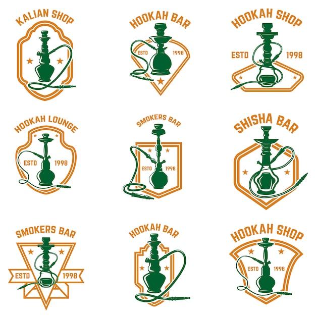 Conjunto de etiquetas de cachimba. elemento de logotipo, emblema, impresión, insignia, cartel. imagen Vector Premium