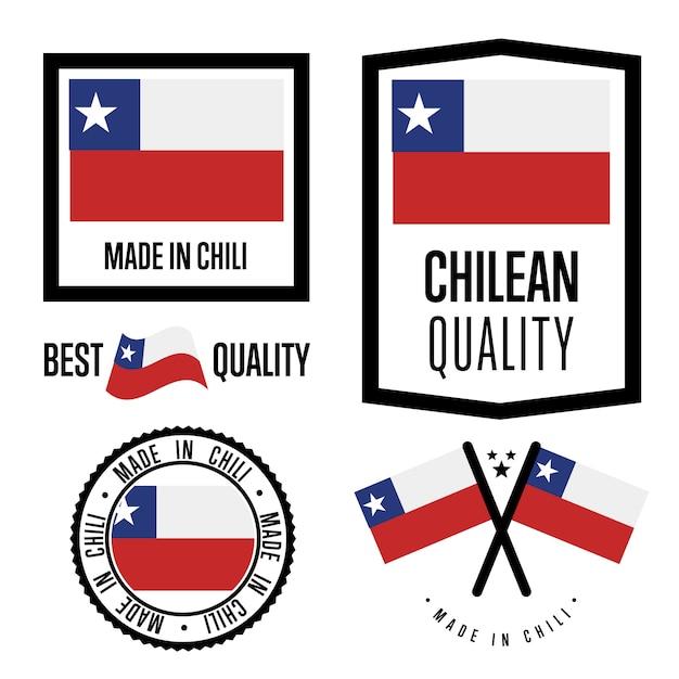 Conjunto de etiquetas de calidad de chile Vector Premium
