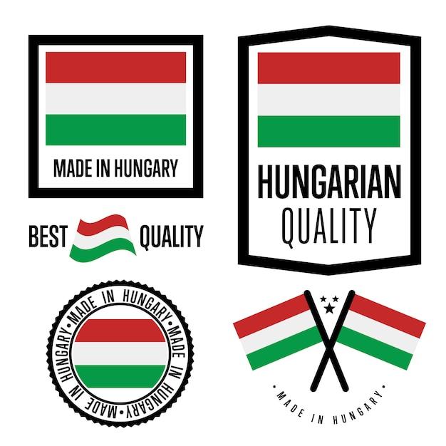 Conjunto de etiquetas de calidad de hungría Vector Premium