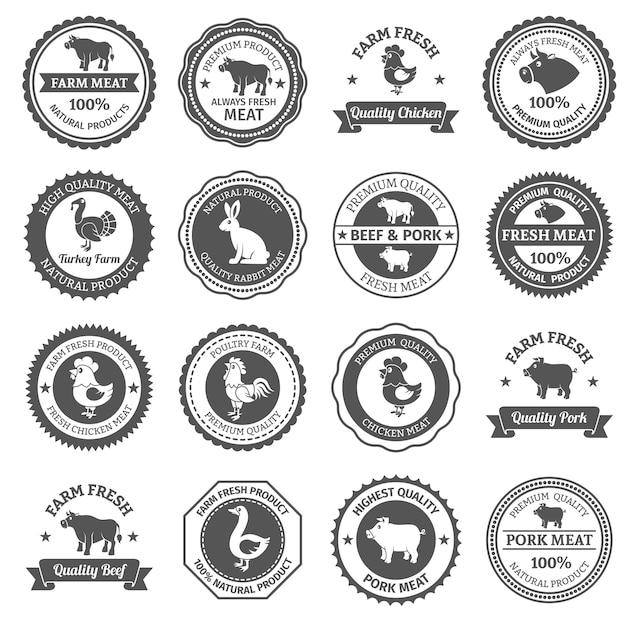 Conjunto de etiquetas de carne vector gratuito