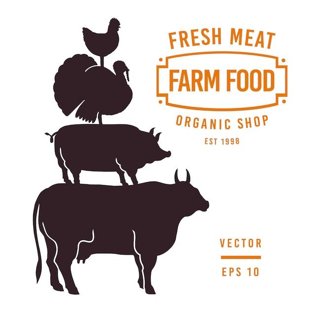 Conjunto de etiquetas de carnicería y elementos de diseño. toro gráfico, cerdo, pavo, siluetas de pollo. Vector Premium