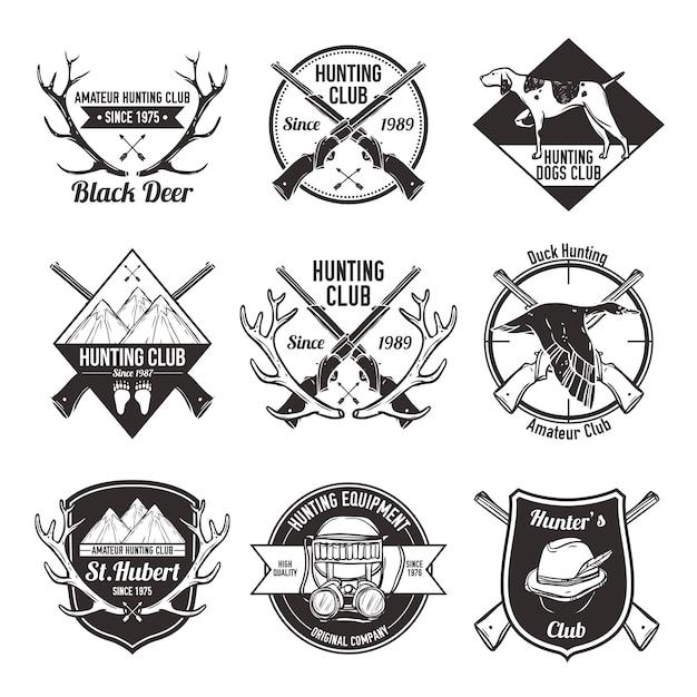 Conjunto de etiquetas de caza vintage vector gratuito