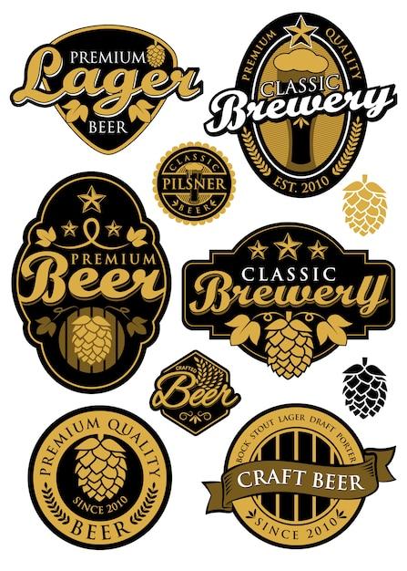 Conjunto de etiquetas de cervecería Vector Premium