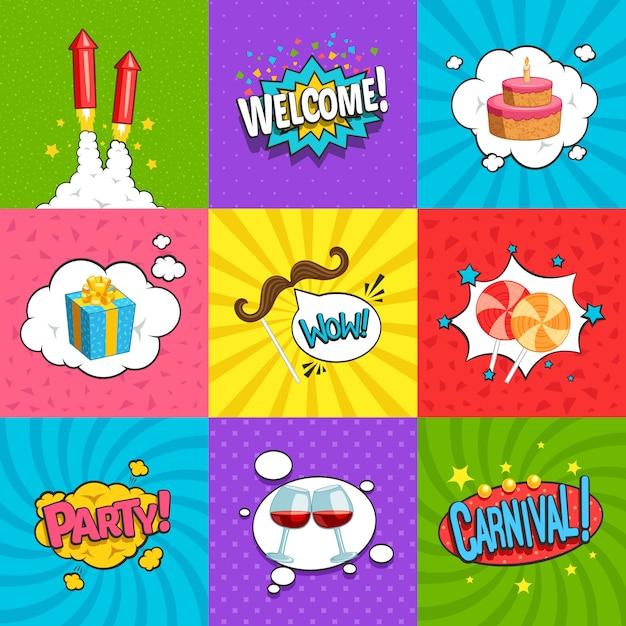 Conjunto de etiquetas cómicas fiesta. vector gratuito
