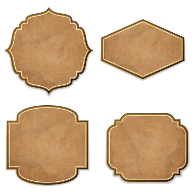Conjunto de etiquetas de cuero realistas vector gratuito
