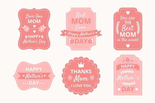 Conjunto de etiquetas del día de la madre dibujadas a mano vector gratuito