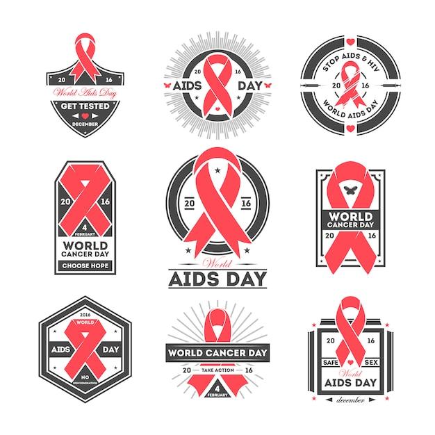 Conjunto de etiquetas del día mundial del sida y el cáncer Vector Premium