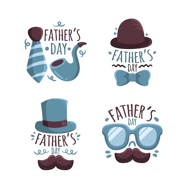 Conjunto de etiquetas de día del padre dibujado a mano vector gratuito