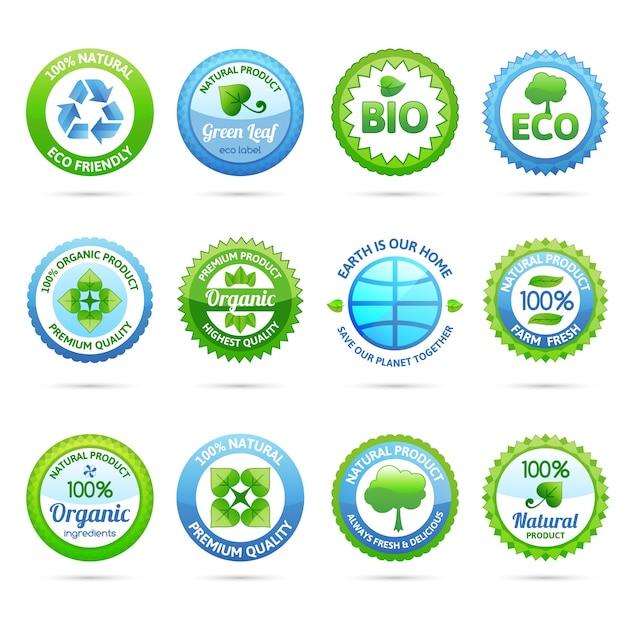 Conjunto de etiquetas ecológicas vector gratuito