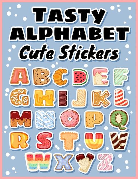 Conjunto de etiquetas engomadas sabrosas del alfabeto. Vector Premium