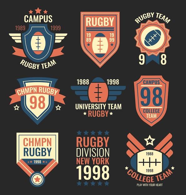 Conjunto de etiquetas de equipo de rugby. insignias del equipo deportivo universitario, emblemas grunge, parches de la comunidad universitaria en estilo retro vintage con texto. colección de ilustraciones vectoriales aisladas sobre fondo negro vector gratuito