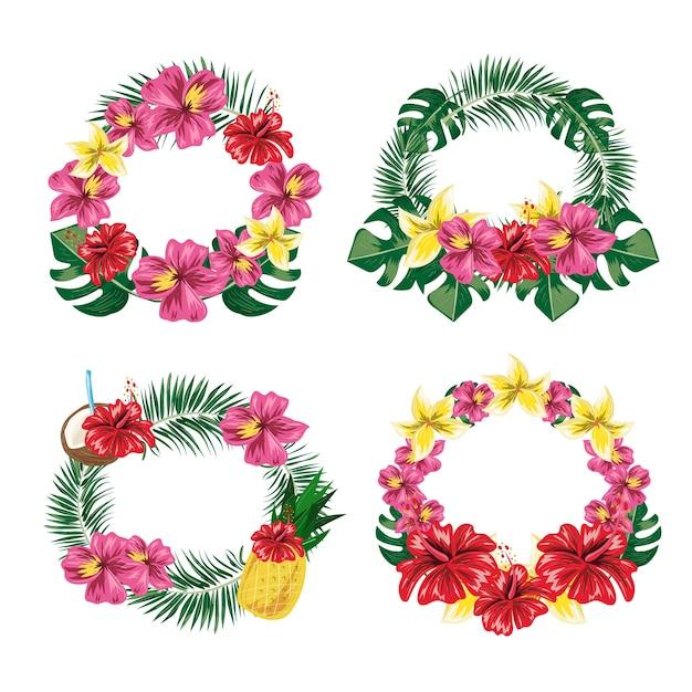 Conjunto de etiquetas de flor de hoja tropical. Vector Premium