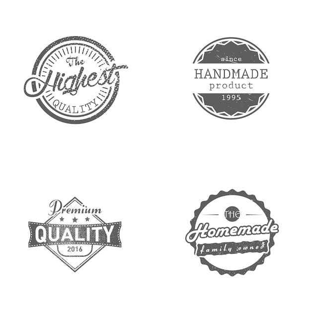 Conjunto de etiquetas hechas a mano, caseras, premium y de la más alta calidad, insignias, ilustración vectorial. insignias de estilo retro vintage Vector Premium