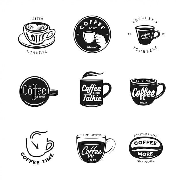 Conjunto de etiquetas, insignias y elementos relacionados con el café. Vector Premium
